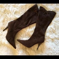 Jessica Simpson Dark Brown Boots Knee high dark brown boots with side bow detail.  Size: 6 1/2 Jessica Simpson Shoes Heeled Boots