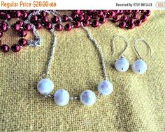 SALE Chunky Czech Glass Bead Necklace & Earring Set, Faceted Semi Translucent White Czech Glass Beads, Silver Plated Chain, Gifts for Her by TerriJeansAdornments on Etsy