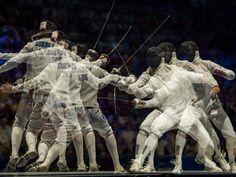 Fechten ist Kunst! Der Este Nikolai Nowosjolow gewann bei der Fecht-WM in Budapest den Titel mit dem Degen. (Foto: Tibor Illyes/dpa)