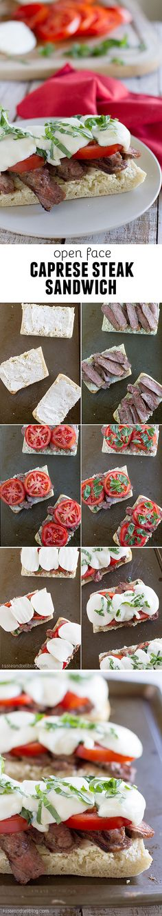 Open Face Caprese Steak Sandwiches - Summer in a sandwich – this Open Face Caprese Steak Sandwich has Certified Angus Beef ® brand steak topped with tomatoes, basil and mozzarella, all on top of cheesy bread.