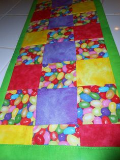 Jelly Beans Squared Easter Table Runner by ColdStreamCrafts