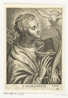 Schelte Adamsz. Bolswert | Heilige Margareta van Cortona met kruis en heilige Geest, Schelte Adamsz. Bolswert, Peter Paul Rubens, Cornelis Galle (II), 1596 - 1659 |