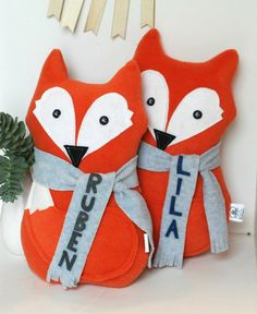 Personalized Holiday Gift Personalized Fox Softie Plush Stuffed Animal Christmas Gift for Kids and Baby