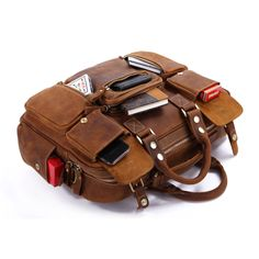 Leather Family — MXS Rare Crazy Horse Leather Men's Briefcase Laptop Bag Dispatch Shoulder Huge Duffle in Red Brown $185.00
