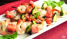 Spice up barbecue night with a big plate of chili-marinated shrimp and juicy fresh fruit.