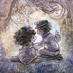 «La luna se veía grande y plateada sobre los pinos negros y hacía brillar misteriosamente las viejas piedras de las ruinas. Momo y Gigi estaban sentados en silencio el uno al lado del otro y se miraron largamente en ella: sintieron con toda claridad que, durante ese instante, ambos eran inmortales.» Momo - Michael Ende. Ilustración de Ileana Surducan.