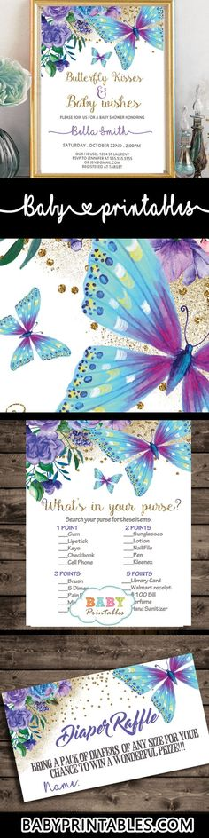 Charming Floral Purple and Turquoise Butterfly baby shower invitations to celebrate the upcoming birth of a new girl with a fun and bright color combination. The Butterfly Baby Shower decorations feature a beautiful arrangement of hand painted mauve flowers in watercolor with green leaves and fluttering butterflies in purple and turquoise against a white backdrop incorporating faux gold glitter. #butterfly #babyshowerideas #butterflytheme #babyshowerinvitations #purpleandturquoise