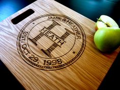 "Personalized Cutting Board, Custom Engraved -12"" x 15"" - Personalized Wedding Gift, Anniversary Gift. $39.00, via Etsy."