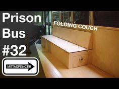 Prison Bus Conversion #32 - Folding Couch - YouTube Rv Sofa Bed, Diy Couch, Daybed, Folding Couch, Fold Out Couch, Trailers, Custom Couches, Mountain Bike Shorts, Steel Furniture