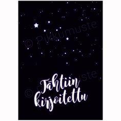 Tähtiin kirjoitettu, kortti tähtitaivaan alla. 2-osainen musta hää/kihlajaisonnittelukortti, mattapintaista kierrätyspahvia. Calm, Artwork, Work Of Art, Auguste Rodin Artwork, Artworks, Illustrators