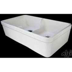 """ALFI brand AB5123 32"""" Short Wall Double Bowl Fireclay Farmhouse Kitchen Sink with 1 3/4"""" Lip - Biscuit"""