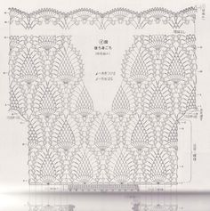 Risultati immagini per short croche grafico Crochet Wool, Crochet Tunic, Filet Crochet, Crochet Doilies, Crochet Clothes, Pineapple Crochet, Pineapple Top, Crotchet Patterns, Crochet Decoration