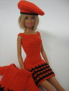 Crocheted Barbie clothes orange dress jacket hat handmade. For the little girls who still play with Barbie. (: its not me, btw.