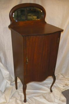 Antique Mahogany Music Storage Cabinet with Beveled Mirror #Antique
