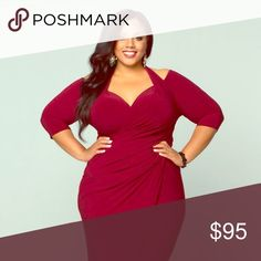 Kiyonna Merlot Firefox Faux Wrap Dress Kiyonna turns up the heat with the Foxfire faux wrap dress. Every sultry detail was made for wow factor, from the cut-out halter shoulders to the deep V-back, with a curve-flattering wrap silhouette and sweetheart neckline. 3/4 sleeve. Kiyonna Dresses