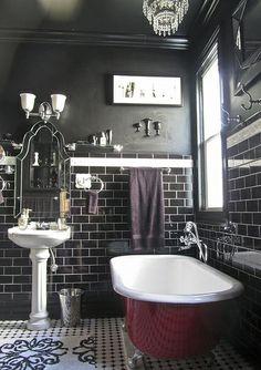 Boudoir Noir  Jewelbox Bathroom by so_tabulous, via Flickr