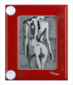 Shocking Toy Drawings - The Etch A Sketch Works Requires Knob Mastery
