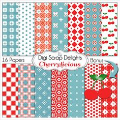 #Cherry licious #Red & #Blue #Aqua #teal Digital Papers, Backgrounds for Digital Scrapbooking, Card Making, Phone Covers, Web Design