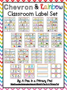 "Classroom Label Set (Rainbow Chevron) Get ready for Back to School with my ""Rainbow Chevron Classroom Label Set""! I love an organized classroom, but it can be overwhelming just thinking about where to start. I created this label kit to save you time! Use this set to label supply bins/shelves, book bins/baskets, tables, manipulatives, and toys. I have also included name cards and cubby/mailbox labels. I recommend printing on cardstock and laminating for durability."