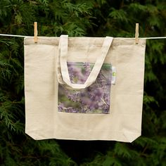 Purple flowers fine art photo canvas tote bag with pocket, market bag, book bag by lilypadprints on Etsy