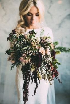 If this bouquet doesn't scream romantic we are not sure what does. Amazing for that winter wedding. If this bouquet doesn't scream romantic we are not sure what does. Amazing for that winter wedding. Woodsy Wedding, Winter Wedding Flowers, Autumn Wedding, Wedding Bells, Floral Wedding, Trendy Wedding, Wedding Vows, Wedding Venues, Wedding Church