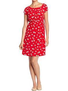 Women's Printed Pintuck-Crepe Dress (Red Print). Old Navy. $32.94