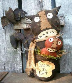 Primitive Folk Art--Halloween--Fall--Scare D. Cat.and Pumpkin Shelf Sitter epattern--PDF--Instant Download--FAAP-Hafair Team