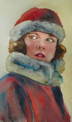 Little girl in winter coat (Painting) by Agnes Mclaughlin