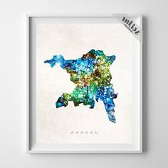 Aargau Watercolor Map Print. Prices from $9.95. Available at www.InkistPrints.com #Aargau #Switzerland