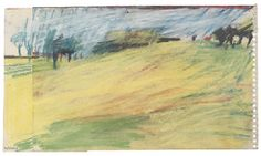 Frank Auerbach (b. Primrose Hill pastel on two attached sheets of paper Watercolor Landscape, Landscape Paintings, Frank Auerbach, Oil Painters, Visual Diary, Small Art, Painting & Drawing, Graphic Art, Berlin