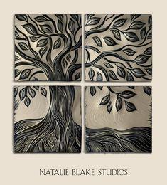 Tree of Life backsplash tiles ~ or hang as wall art ~ handmade ceramic sgraffito carved tiles.