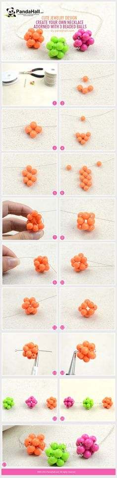 Cute Jewelry Design-Create Your Own Necklace Adorned with 3 Beaded Balls from pandahall.com