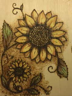 Wood burning & watercolor sunflowers