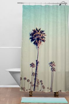 CALIFORNIA PALM TREES Shower Set | DENY Designs Home Accessories