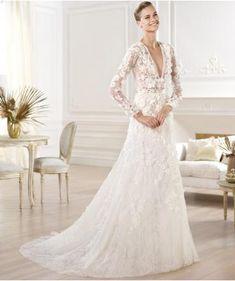 V Glamour Maniche Lunghe Abiti Da Sposa 2014 Abito Da Sposa In Pizzo Con  Maniche ec6d9b6c776