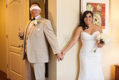 Funny First Look - Romantic White, Grey and Pink Davis Islands Garden Club Wedding - Tampa Wedding Photographer Jerdan Photography