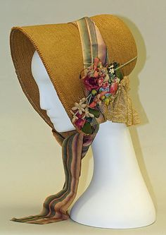 Bonnet  Date: 1835–49 Culture: American Medium: straw Dimensions: Height: 11 1/2 in. (29.2 cm) Width: 11 in. (27.9 cm)