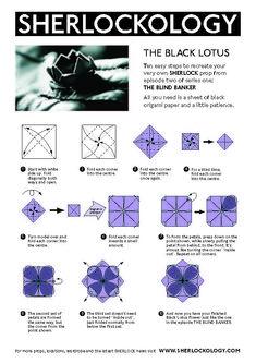 Black Lotus origami from Sherlock episode The Blind Banker Sherlock Holmes, Sherlock Fandom, Sherlock Quotes, Sherlock Tumblr, Watson Sherlock, Sherlock John, Moriarty, Baker Street, Lotus Origami