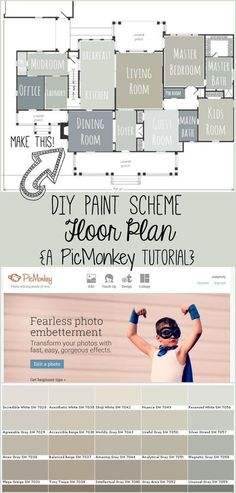It's easy to create a floor plan layout of paint colors for your home. Use this method when planning a renovation or doing simple updates to test out paint colors you think you like, and to get an idea of how well colors go together, which room to use a color in, etc. It's easy to paint your home digitally and I'm showing you how! #homerenovation