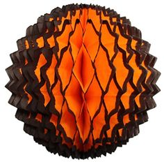 3-Pack 7 Inch Honeycomb Tissue Paper Spike Ball Party Decoration in Halloween black and orange, made in USA by Devra Party