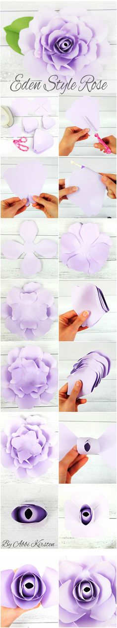 Eden style giant paper rose tutorial. Paper rose templates and instructions. DIY paper flowers. By Catching Colorflies Designs