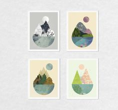 Art print set set of 4 prints wall art prints 4 seasons by FLATOWL