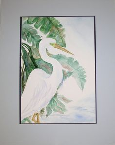 Original Watercolor Painting, Watercolor Painting Wading, Original Watercolor Bird Painting. Watercolor Painting of Egret - pinned by pin4etsy.com