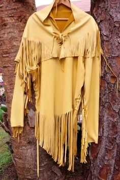 Gold Deerskin Leather Mens Long Shirt XL Native by SpottedEagleArt