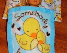 SOMEBODY LOVES ME Pillow, Pillowcase & Blanket for 18inch American Girl Dolls - Made in America