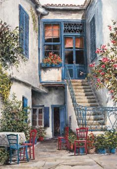 """Courtyard Garden"" by William Mangum Graffiti Kunst, Beautiful Paintings, Windows And Doors, Landscape Art, Pretty Pictures, Painting Inspiration, Watercolor Paintings, Watercolor Artists, Facade"