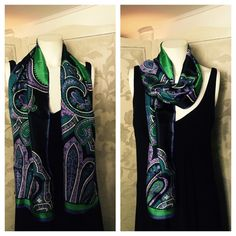 """ADRIENNE VITTADINI Silk Scarf Fancy Paisley Print Stunning ADRIENNE VITTADINI 100% Silk Scarf that has a bold paisley print; teal blue, green, hues of purple, black and white; teal blue border with short eyelash fringed edges. Made in Japan. This scarf is both signed and tagged. Measures approx. 52"""" x 11"""" (add 1/4"""" on each end for eyelash fringe). Smoke and fragrance free. In excellent preowned condition; only a tiny pinhole on one end from price tag as shown in pic. Please see additional…"""