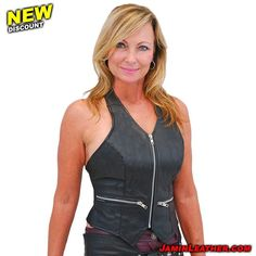 "965c539156 Jamin  Leather on Instagram  ""New Discounts   Weekly Featured Items  This  week is the Zip Front Black Leather Halter Vest  LH5231ZK Sugg."