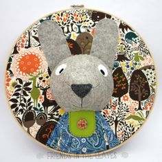 This listing is for a custom embroidery hoop portrait, a 3D wall hanging which is perfect to decorate a woodland themed nursery or a childs