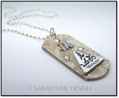 "TRI HARD Designer DogTag $18  White faux crocodile cowhide leather,  silver ink edged and TRI HARD stamp, pewter tri charm and bling accents, resin sealed.  A great reminder to give it your all!  Comes with 24"" silver ball chain. www.sarahjaned.com"
